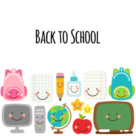 Cute Back to school banner design with colorful funny cartoon characters, education theme background