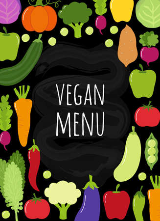 Cute Vegan Menu frame background with various vegetables Иллюстрация