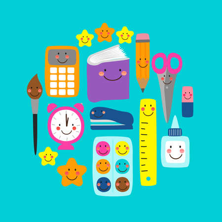 Cute bright eye-catching Back to school banner design with colorful funny cartoon characters, education theme background