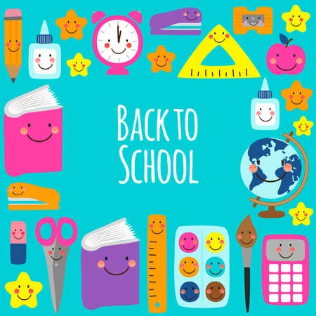 Cute bright eye-catching Back to school frame design with colorful funny cartoon characters, education theme background