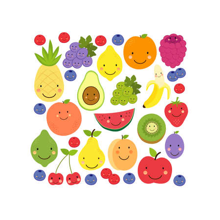 Cute Fruit Paradise background with various fruit characters