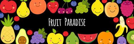 Cute Fruit Paradise frame banner background with various fruit characters