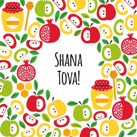 Cute greeting banner background with symbols of Jewish New Year holiday Rosh Hashana, Shana Tova