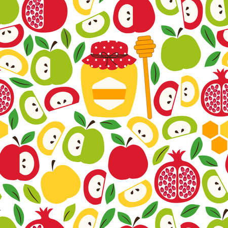 Cute eye catching seamless pattern background with symbols of Jewish New Year holiday Rosh Hashana, Shana Tova Çizim