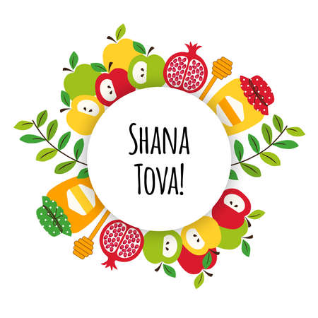 Cute eye catching greeting banner background with symbols of Jewish New Year holiday Rosh Hashana, Shana Tova