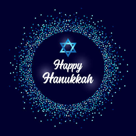 Luxury Festive Happy Hanukkah background with sparkles and glittering effect and lettering, can be used as greeting card, banner, poster or flyer design