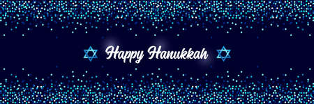 Luxury Festive Happy Hanukkah horizontal background with sparkles and glittering effect and lettering, can be used as banner, poster or flyer design Çizim