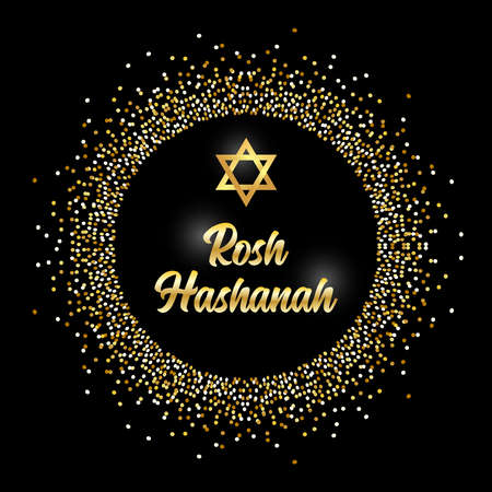 Luxury Festive Jewish New Year Rosh Hashanah background with golden sparkles and glittering effect and lettering, can be used as greeting card, banner, poster or flyer design for your decoration