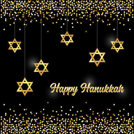 Luxury Festive Happy Hanukkah background with golden sparkles and glittering effect and lettering, can be used as greeting card, banner, poster or flyer design for your decoration Çizim