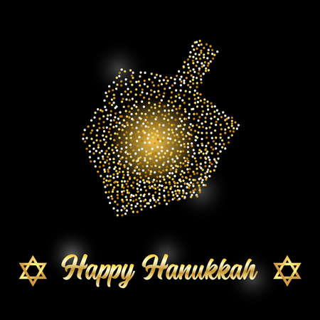 Luxury Festive Happy Hanukkah background with golden sparkles and glittering effect and lettering