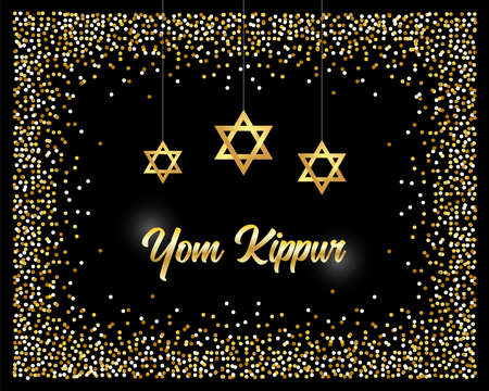 Luxury Festive Yom Kippur Jewish Religious Holiday background with golden sparkles and glittering effect and lettering, can be used as greeting card, banner, poster or flyer design for your decoration Çizim