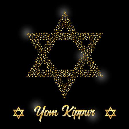 Luxury Festive Yom Kippur Jewish Holiday background with golden sparkles and glittering effect and lettering