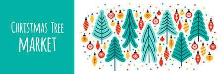 Cute Scandinavian Christmas Tree Market banner background with hand drawn Fir Trees and Christmas balls