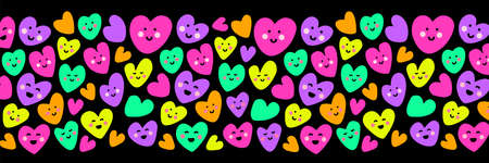 Cute childish background with funny kawaii cartoon characters of hearts in 80s style