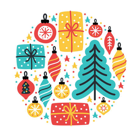 Cute Merry Little Christmas background with hand drawn Christmas tree, balls and present boxes Archivio Fotografico - 129792558