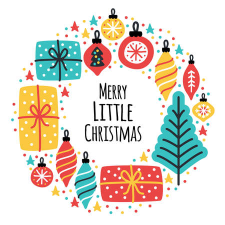 Cute Merry Little Christmas frame background with hand drawn Christmas tree, balls and present boxes