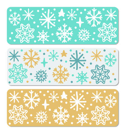 Cute Scandinavian Winter borders with hand drawn snowflakes 向量圖像