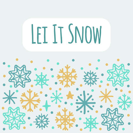 Cute Scandinavian Winter background with hand drawn snowflakes 向量圖像