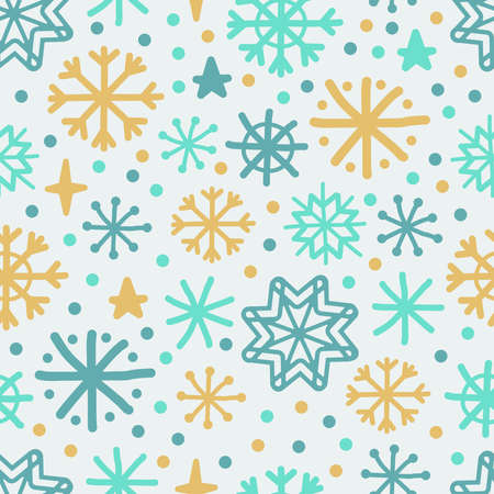Cute Scandinavian Winter seamless background with hand drawn snowflakes