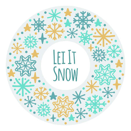Cute Scandinavian Winter frame background with hand drawn snowflakes