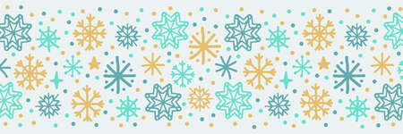Cute Scandinavian Winter horizontal banner background with hand drawn snowflakes 向量圖像