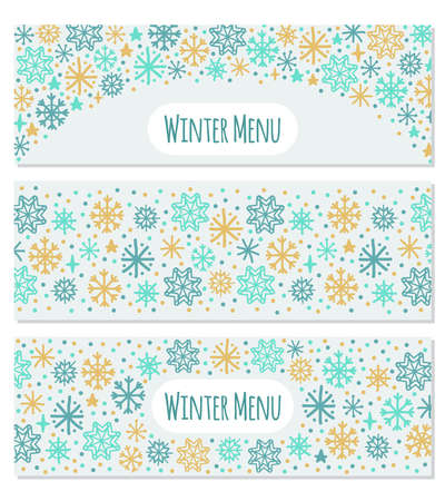 Cute set of Scandinavian Winter horizontal banners background with hand drawn snowflakes Standard-Bild - 130774099