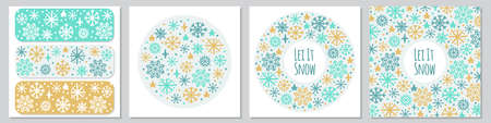 Cute set of Scandinavian Winter backgrounds with hand drawn snowflakes