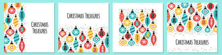 Cute set of scandinavian Christmas Treasures backgrounds with hand drawn Christmas balls and confetti for your decoration 向量圖像