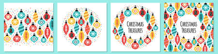 Cute set of Christmas Treasures backgrounds with hand drawn Christmas balls