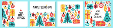 Cute set of Merry Little Christmas backgrounds with hand drawn Christmas tree, balls and present boxes
