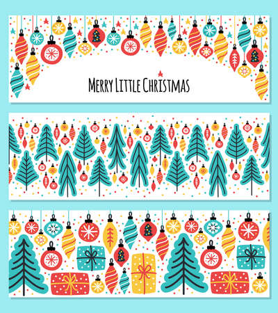 Cute set of Merry Little Christmas horizontal banner backgrounds with hand drawn Christmas tree, balls and present boxes Stock Illustratie