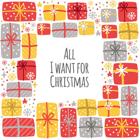 Cute All I Want for Christmas background with hand drawn Christmas present boxes and snowflakes Stock Illustratie