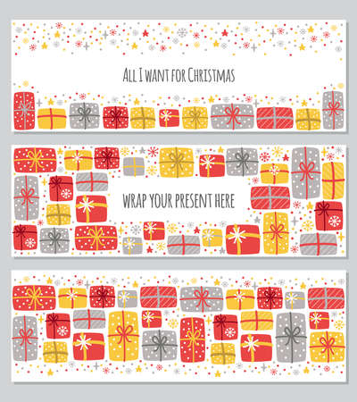 Cute set of All I Want for Christmas backgrounds with hand drawn Christmas present boxes and snowflakes