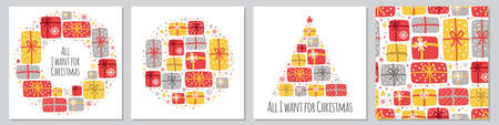 Cute set of Scandinavian All I Want for Christmas backgrounds with hand drawn Christmas present boxes and snowflakes for your decoration