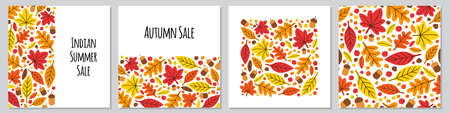 Cute set of botanical hand drawn Autumn Leaves backgrounds 向量圖像