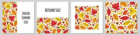 Cute set of botanical hand drawn Autumn Leaves backgrounds Illustration