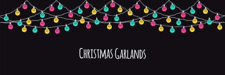 Cute Scandinavian Christmas horizontal banner design with hand drawn light bulb garlands on dark background, vector illustration