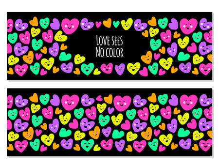 Cute set of childish backgrounds with funny kawaii cartoon characters of hearts in 80s style