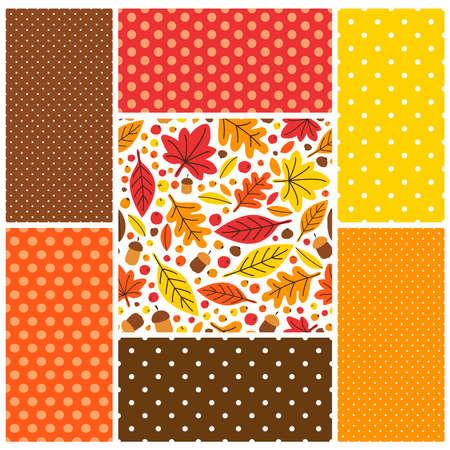 Cute set of Autumn seamless patterns background