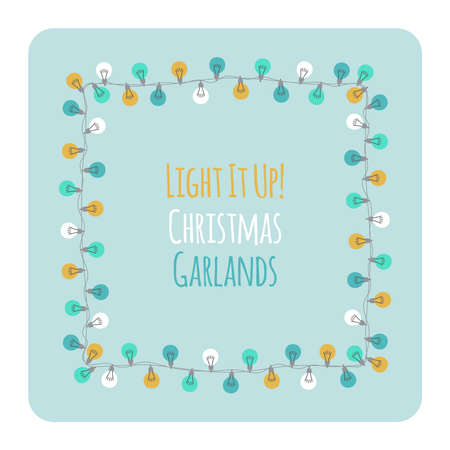 Cute vintage Christmas design with hand drawn light bulb garlands frame backround, can be used as template for banner, card or flyer, vector illustration for your decoration