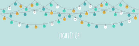 Cute vintage Christmas design with hand drawn light bulb garlands horizontal banner backround, can be used as template for banner, card or flyer, vector illustration for your decoration