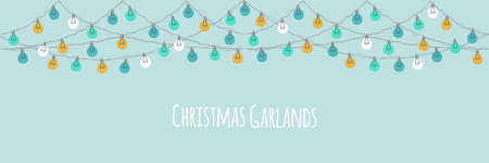 Cute vintage Christmas design with hand drawn light bulb garlands horizontal banner background, template for banner, card or flyer, vector illustration