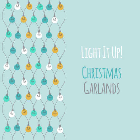Cute vintage Christmas design with hand drawn light bulb garlands backround, can be used as template for banner, card or flyer, vector illustration for your decoration 向量圖像