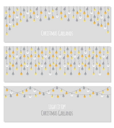 Set of cute vintage Christmas designs with hand drawn light bulb garlands horizontal background 向量圖像