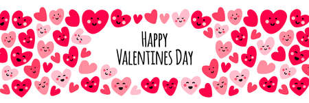 Cute childish bright eye catching Valentines Day background with funny kawaii cartoon characters of hearts, can be used for card, frame, as banner, for gift box package etc