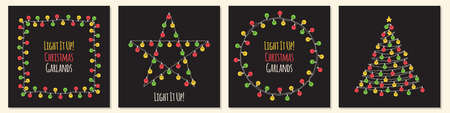 Set of cute vintage Christmas designs with hand drawn light bulb garlands backround, can be used as template for banner, card or flyer, vector illustration for your decoration 向量圖像