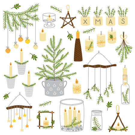 Cute Scandinavian set of vintage Christmas and New Year decorative elements as wooden star, Christmas tree, candles, mason jars and etc 일러스트