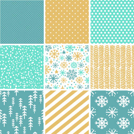 Cute Scandinavian Winter seamless patterns set with hand drawn elements for your decoration, vector illustration