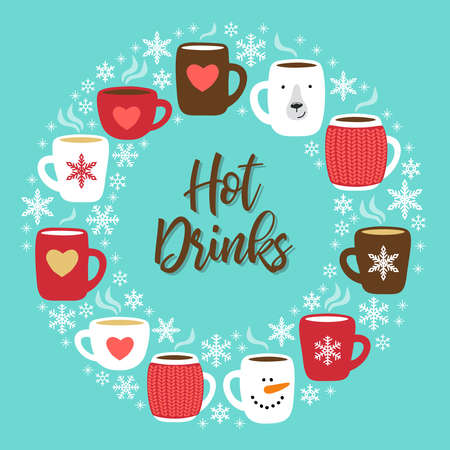 Cute Hot Drinks background with hand drawn cozy mugs