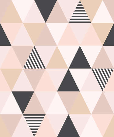 Cute Scandinavian geometric seamless pattern with triangles in neutral palette colors, vector illustration 向量圖像